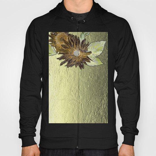 Abstract burnt orange sunflower on golden foil like background Hoody