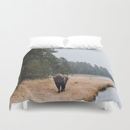 Bison During An Early Son Storm Duvet Cover