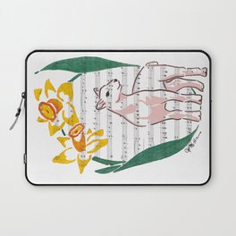 The Lamb of God (lamb and daffodils on a hymn) Laptop Sleeve