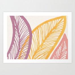 Drawn Leaf Study - Wide Mellow Summer Palette Art Print