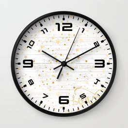 Christmas gold stars #1 Wall Clock