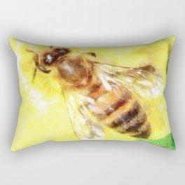 The Pollen Collector Honeybee Watercolor Rectangular Pillow