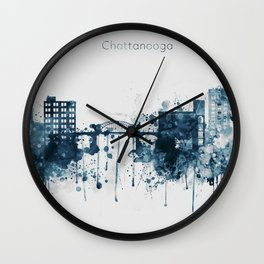 Blue Chattanooga skyline design Wall Clock
