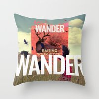 wander Throw Pillows featuring WANDER by Christel Sayegh