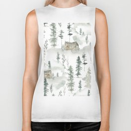 Winter scene houses and trees pattern Biker Tank