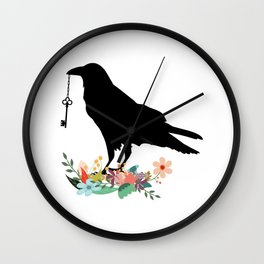 Floral Halo Raven and Key Wall Clock