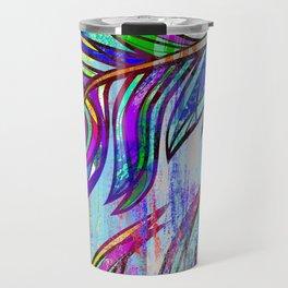 Colorful peacock feathers print Travel Mug