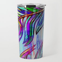 Colorful peacock feathers print Travel Mug