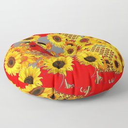 RED CARDINAL BIRD YELLOW SUNFLOWERS  ABSTRACT Floor Pillow