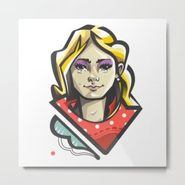 Girl in red Metal Print