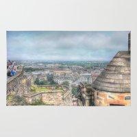 edinburgh Area & Throw Rugs featuring Edinburgh Castle by Christine Workman