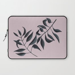 Grey Leaves on Pink Laptop Sleeve