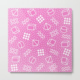 Abstract Memphis Style Pattern Pink Metal Print