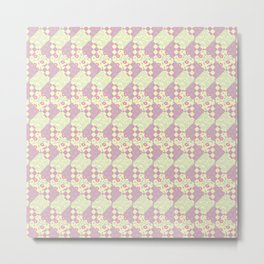 Pink, Yellow & Green Patchwork Pattern of Squares & Triangles Metal Print
