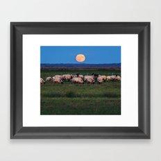 Moonrise over the Flock Framed Art Print
