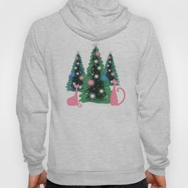 Pink And Perfect Kitty Cats In The Sparkling Snow Hoody