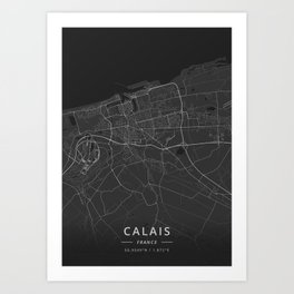 Calais, France - Dark Map Art Print