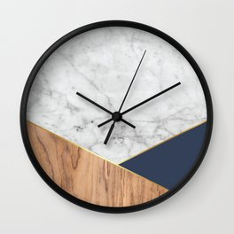 White Marble - Wood & Navy #599 Wall Clock
