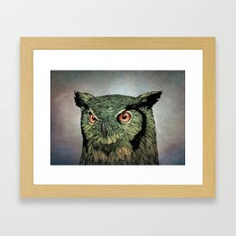 Owl - Red Eyes Framed Art Print