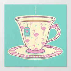 Flamingo tea Canvas Print