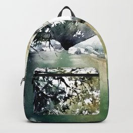 Running water down below in the dark, frozen forest Backpack