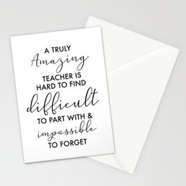 amazing Teacher retirement quote best teachers are difficult to part with Stationery Cards