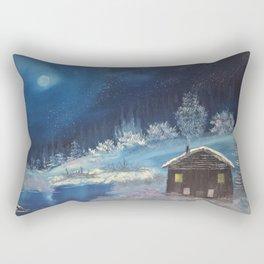 Moonlit cabin Rectangular Pillow