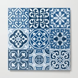 Classic Blue Tiles Metal Print