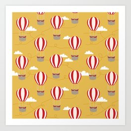 Hot air balloon pattern cute decor for boys or girls room Art Print