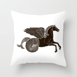 Hippocampus Sea Horse Myth Retro Vintage Rough Design Throw Pillow