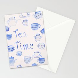 Tea time - Quote - water colour - Blue Stationery Cards