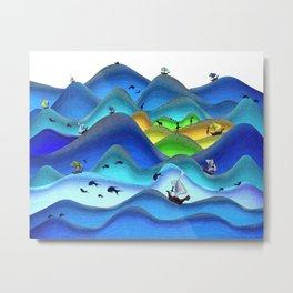 Whimsical Naive art stormy ocean Metal Print