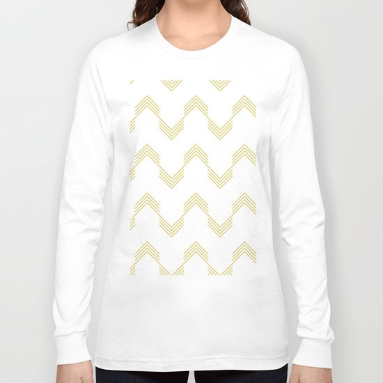 Simply Deconstructed Chevron Mod Yellow on White Long Sleeve T-shirt