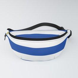 Dark Princess Blue and White Wide Horizontal Cabana Tent Stripe Fanny Pack