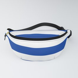 Dark Princess Blue and White Wide Horizontal Cabana Tent Stripe Fanny Pack