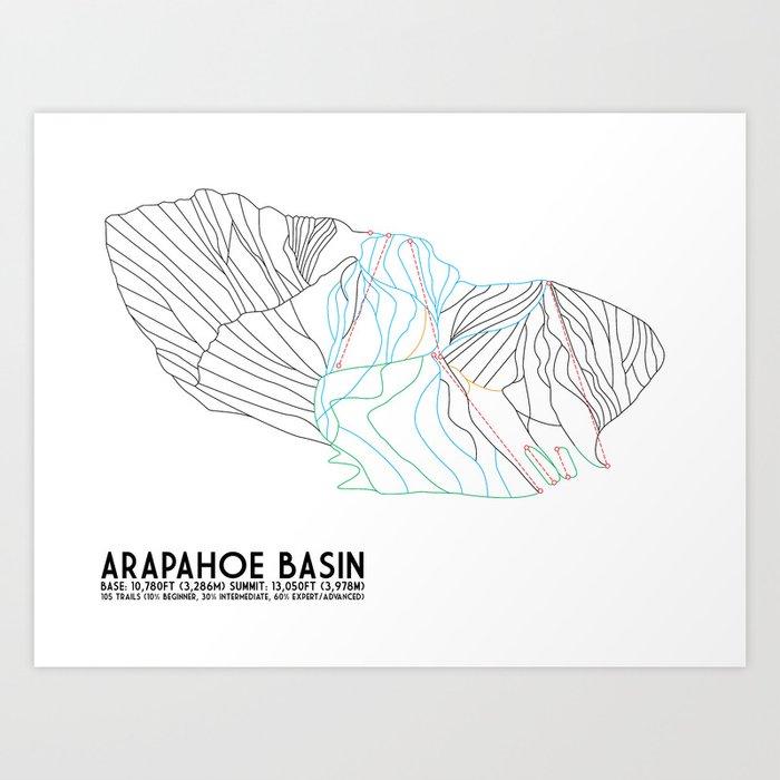 Arapahoe Basin, CO - Minimalist Trail Map Art Print