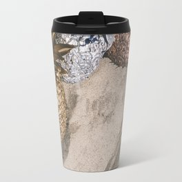 GOLD AND SILVER PINEAPPLES IN THE SAND Travel Mug