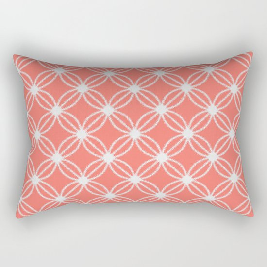 Abstract Circle Dots Peach II Rectangular Pillow