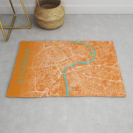 Nashville, TN, USA, Gold, Blue, City, Map Rug