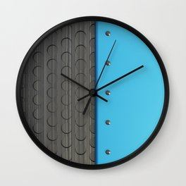 Colored plate with rivets and circular metal grille Wall Clock