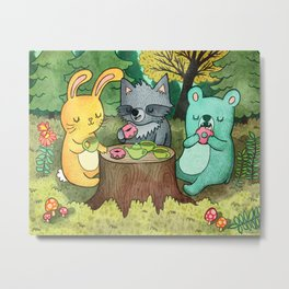 Woodland Animal Picnic Metal Print