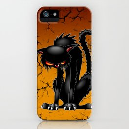 Black Cat Evil Angry Funny Character iPhone Case
