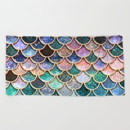 Multicolor Pink And aqua Mermaid Scales - Beautiful Abstract Glitter pattern Beach Towel