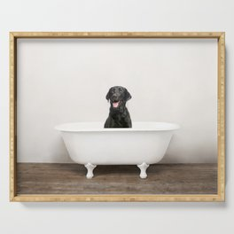 Black Lab in Vintage Bathtub Serving Tray