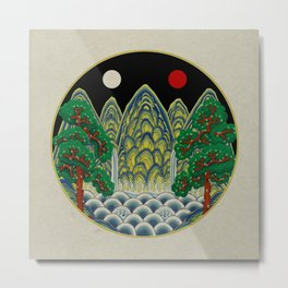 Sun, Moon and 5 peaks: King's painting Type B (Minhwa-Korean traditional/folk art) Metal Print