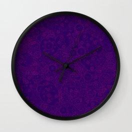 Clockwork PURPLE DREAM / Cogs and clockwork parts lineart pattern Wall Clock