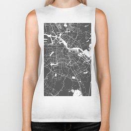 Amsterdam Gray on White Street Map Biker Tank