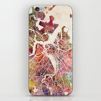 boston map iPhone & iPod Skins featuring Boston by MapMapMaps.Watercolors