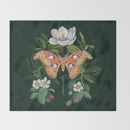 Atlas Moth Magnolia Throw Blanket