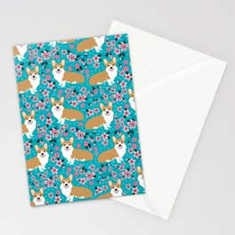 Welsh Corgi cherry blossoms dog portrait custom dog art spring floral dog pattern pet friendly Stationery Cards